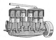 Six cylinder engine with three cylinder blocks (Autocar Handbook, Ninth edition)