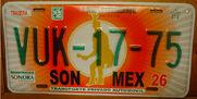 Sonora mexico license plate