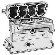 Cylinder block and head of sidevalve engine (Autocar Handbook, Ninth edition)
