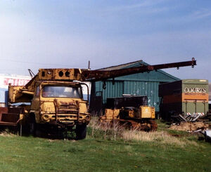 A 1960s Taylor Jumbo Mobilecrane 3 T awaiting restoration