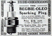 Advert for Begbie Oleo sparking plugs from May 1904, fitted on all Aster engines