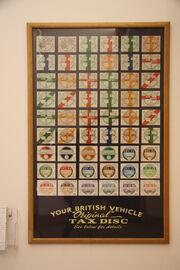Collection of British vehicle tax discs - HMC Gaydon IMG 2659