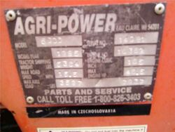 Agri-Power 5000 mfg plate