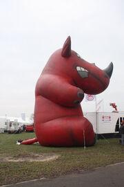Red Rhino inflatable 'mascot' at LAMMA 10 - IMG 7676