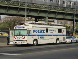 NYPD Blue Bird All American RE mobile command post #4077 in Brooklyn, New York.