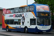 Stagecoach in Newcastle bus 19208 Alexander Dennis Trident 2 Enviro 400 NK57 DWP in Wallsend Newcastle upon Tyne 9 May 2009