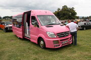 Mercedes-Benz - pink party bus - at Powderham Castle 11 - IMG 5969