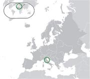 Map showing San Marino in Europe