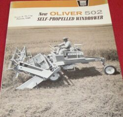Oliver 502 swather b&w brochure