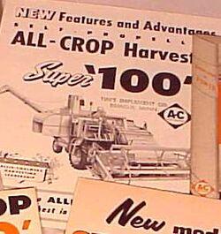 AC All-Crop Super 100 combine brochure b&w