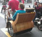 Bamboo tricycle rickshaw