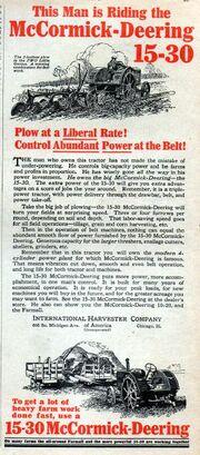1928 McCormick-Deering 15-30 advert.
