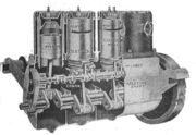 A 4-cylinder Daimler car engine of 1919, sectioned through the cylinders to show the Knight sleeve valves.