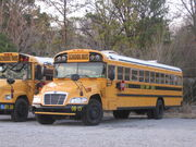 2008 Blue Bird Vision conventional school bus operated by the Shelby County, Alabama Board of Education in Helena, Alabama.