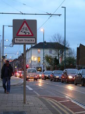 NET-tram tracks warning