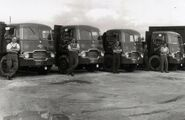 A 1960s row of Rowe Hillmaster lorries in Cornwall