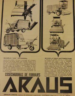 Araus A-152 forage harvester b&w brochure
