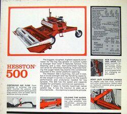 Hesston 500 swather brochure