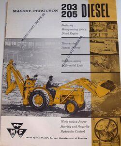 MF 205 backhoe brochure - 1962