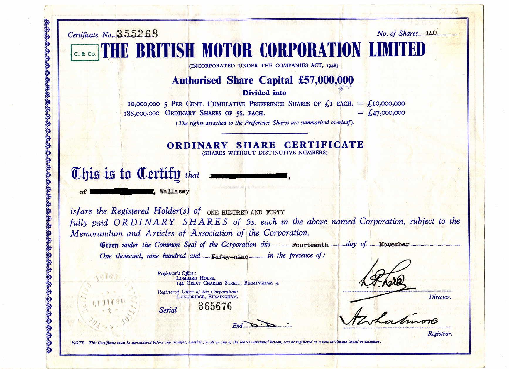 British motor corporation tractor construction plant wiki a bmc share certificate 1betcityfo Gallery