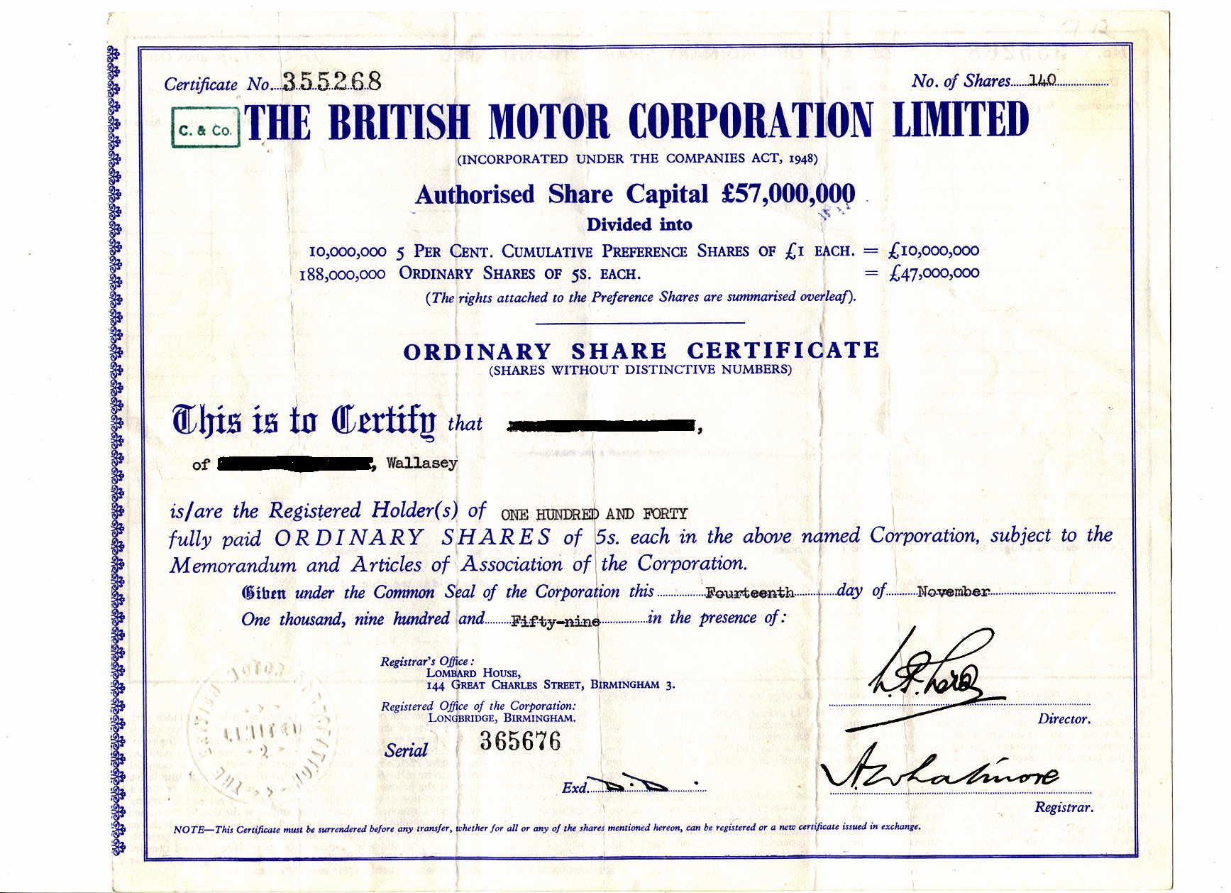 A BMC Share Certificate.  Company Share Certificates