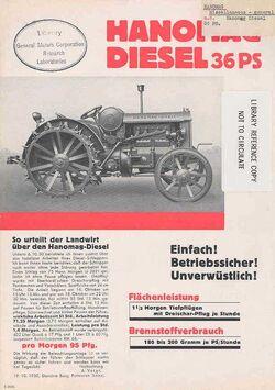 Hanomag 36 PS b&w ad - 1931
