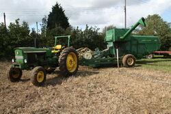 John Deere 360 combine + JD 2030 tractor at barleylands 2011 - IMG 6180