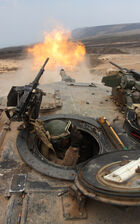 M1 Abrams turret fire above