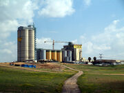 Grain elevators on a farm in Israel