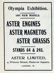 Aster advert, Olympia exhibition November 1906, 1907 models, engines, magnetos, chassis