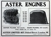 Aster Ltd, Oxford street, Advert and engine list Sept-1905