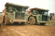 A 1980s pair of Aveling Barford RD55 Dumptrucks working in a Stafford quarry