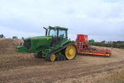 John Deere 8420T with seeder unit at maldon 11 - IMG 4960
