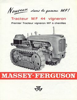 MF 44 vineyard crawler b&w brochure - 1964