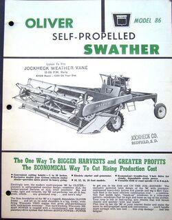Oliver 86 swather brochure