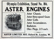 Aster advert, February 1905, Olympia exhibition - engines, chassis, gears, coils, accumulators