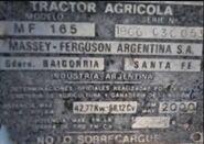MF 165 (MF Argentina) plate