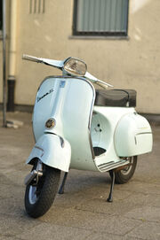 Light blue Vespa GL, front