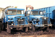 A pair of 1970s Aveling Barford AB690 Off Highway Trucks