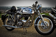 Triton Norton-Triumph motorcycle with polished frame and tank