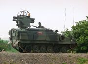 Vehicle facing right with eight anti-aircraft missiles mounted on top