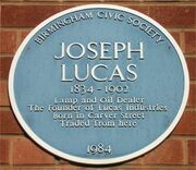 Blue plaque Joseph Lucas