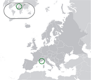 Map showing Monaco in Europe