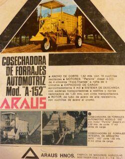 Araus A-152 forage harvester b&w ad