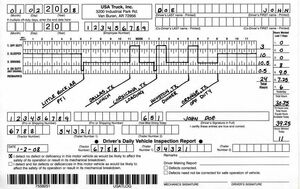 Truck driver log book (example)
