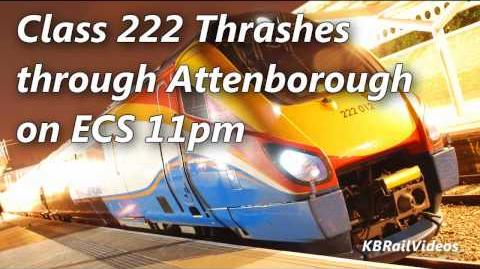 (HD) East Midlands Trains Class 222 passes Attenborough with a difference