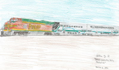 Metrolink Train pulled by BNSF locomotive