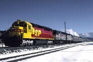 SP SDP45 leading Amtrak train