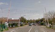 French 4-Quadrant Gate Crossing on Avenue Aristide Briand, Merignac, Nouvelle Aquitaine, France