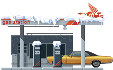 Snowy Gas Station